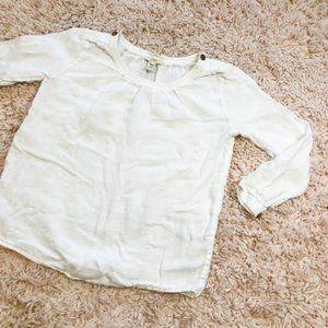 J. Crew White Linen 3/4 Sleeve Scoop-Neck Top